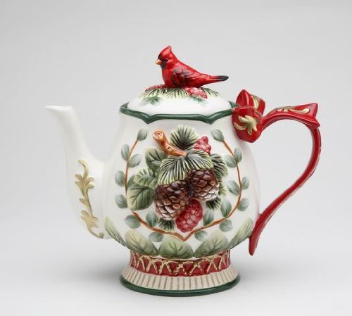 Elegant Evergreen Holiday Teapot with Red Cardinal on Top Collectible