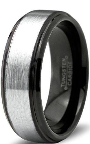 Tungsten Wedding Band Ring 8mm for Men Women Comfort Fit Black Beveled Edge Polished Brushed Size 13