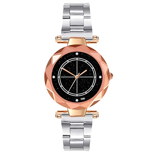 LUCAMORE Diamond Women Watches Starry Dial Concise Halo Ladies Quartz Wrist Watch Stainless Steel Strap Jewelry Gift