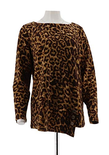 Susan Graver Weekend Printed French Terry Top Button A281178, Brown, L
