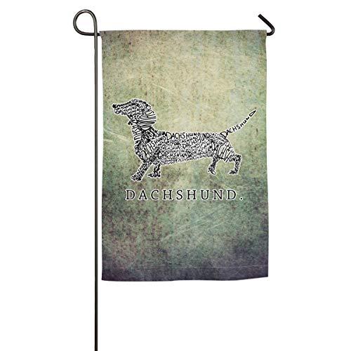 (Sxf0@flag Seasonal Garden Flags for Outdoors, Dachshund Doxen Weiner Word Art Dog Owner Decoration | Durable,)