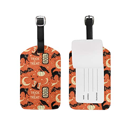 SMILLBUT Vintage Halloween Trick Or Treat Boo Leather Luggage Bag Tags,Personalized and Stylish Luggage Tag,Travel Suitcase Bag Identify Label 3D High-Definition Printing Technology Colorful ID Tags -