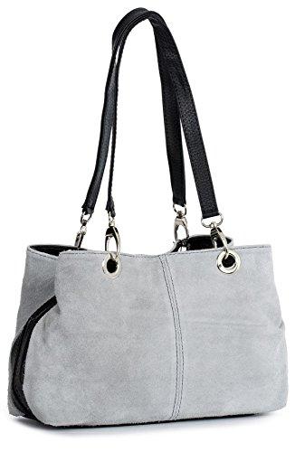 (LiaTalia - Lush Italian Suede Womens Small Twin Top Multi Zip Pockets Shoulder Bag - Holly [Light Grey - Black Trim])
