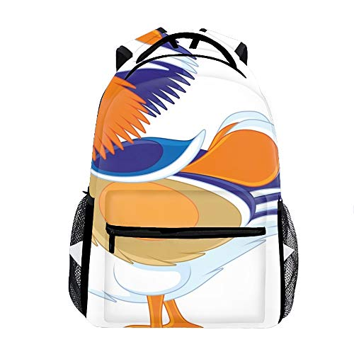 Mandarin Duck Color Backpack Boy Girls Shoulder School Bags