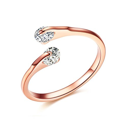 Gold Open Heart Ring (Difines Redbarry 18k Rose Gold Plated Double 0.25ct CZ Tension-mount Engagement Open Rings, Size 7)