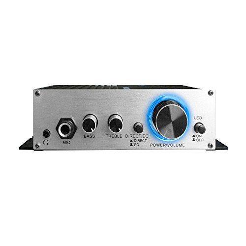 Technical Pro MA2020 Mini Audio Amplifier - 40W Dual Channel Surround Sound Hifi Stereo receiver w/ 12V AC Adapter, AUX, MIC IN, Supports SmartPhone, iPhone, iPod, MP3, For two 8 OHM Speakers.