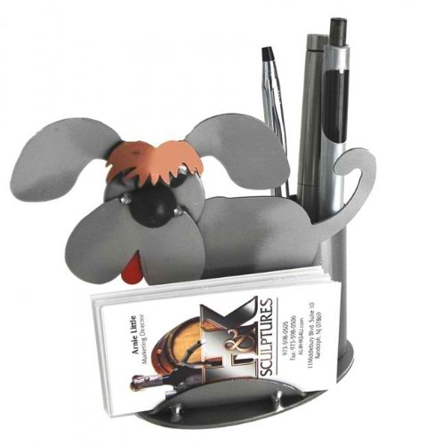 Dog shaped business card and pen holder