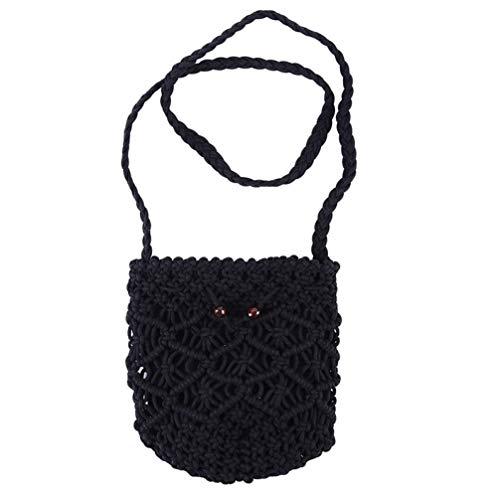 Women Hollow Crochet Straw Shoulder Bag Knitting Floral Summer Beach Drawstring Bohemian Crossbody Handbags ()