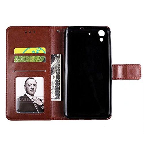 COWX Y6 II Hülle Kunstleder Tasche Flip im Bookstyle Klapphülle mit Weiche Silikon Handyhalter PU Lederhülle für Huawei Y6 II Tasche Brieftasche Schutzhülle für Huawei Y6 II schutzhülle QIv707