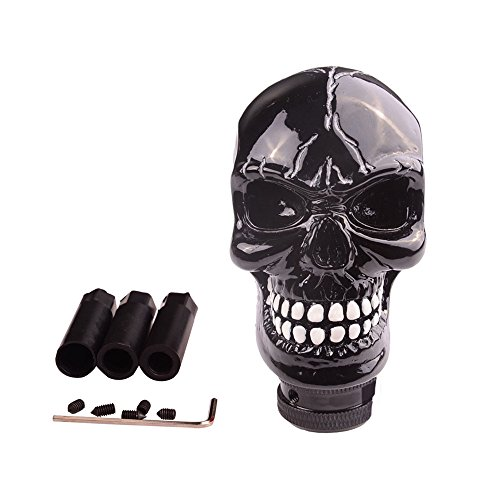 Skull Gear Shift - SMKJ Universal Bone Resin Skull Head Style Car Shift Knob Shifter Knobs Lever Gear Stick for Most Manual or Automatic Transmission Vehicles(Black)