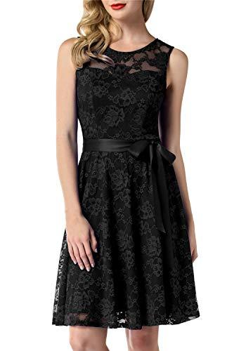 MUADRESS 6016 Round Neck Lace Bridesmaid Dress Knee Length Wedding Party Dress with Belt XS Black ()