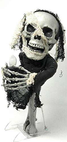 Halloween Voodoo Skull Skeleton Glowing Eyes Casting Curses Staff