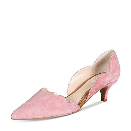 (YDN Women Classic Pointy Toe Kitten Pumps Slip-on Suede Low Heel D'Orsay Shoes Formal Light Pink 9.5)