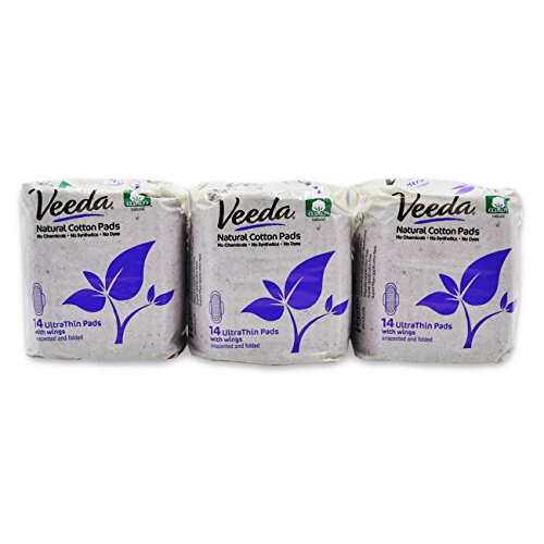 Veeda Natural Cotton UltraThin Day Pads with Wings, Unscented, 14 Count, Pack of ()