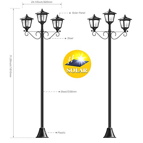 72'' Solar Lamp Post Lights Outdoor, Triple-Head Street Vintage Solar Lamp Outdoor, Solar Post Light for Garden, Lawn, Planter Not Included by Greluna (Image #2)