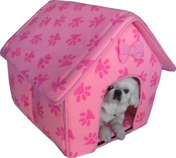 New Collapsible Pink Paw Prints Pet Dog Puppy Cat Kitten Bed Shelter House, My Pet Supplies