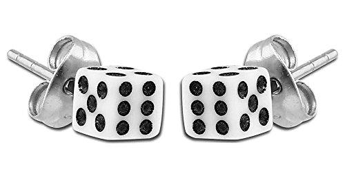BodyJewelleryShop Earrings - Dice White