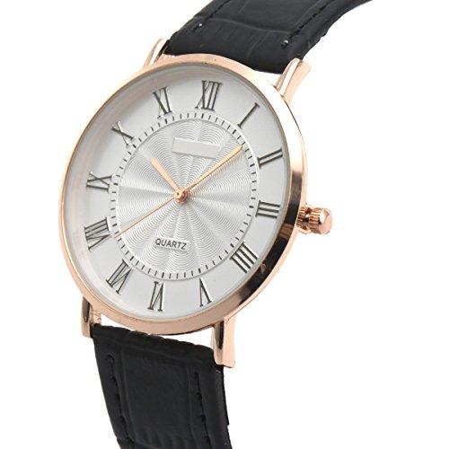 - Wrist Watch Ultra-thin Mens Minimalist Black SIBOSUN Quartz Leather Strap Classic Roman Numerals Anolog