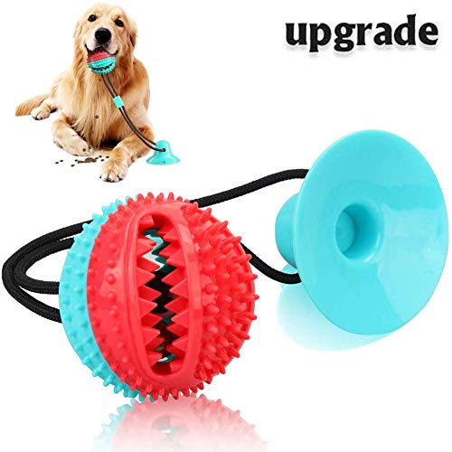 XYZCREAT Suction Cup Dog Toy, Interactive Pet Molar Bite Toy, Self-Playing Rubber Chew Ropes Toys with Feeding Ball for…
