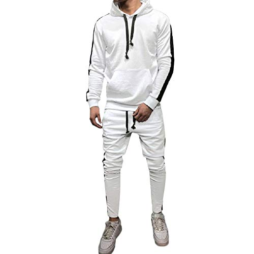 iLXHD Athletic Tracksuits Long Sleeve Solid Jumper Sweater Pans Sweat Suit(X-White,M)