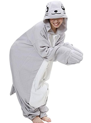 FashionFits Unisex Adult Cartoon Cosplay Seal Jumpsuit Sleeping Wear Pyjama L (Singapore Cartoon Costume)