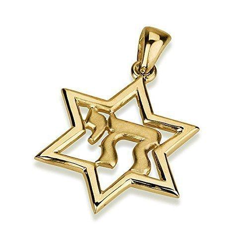 Chai Star of David Pendant in 14K Gold