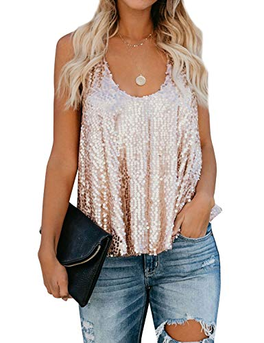 (ZJP Women Sexy U Neck Sleeveless Open Back Sparkle Sequin Embellished Tank Tops, Rose Gold, Medium)