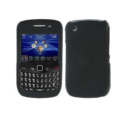 Crystal Hard Rubberized Black Cover Case for RIM BlackBerry Curve 9300 9330 8530 8520 T-Mobile [WCM393] - 8530 Curve Snap