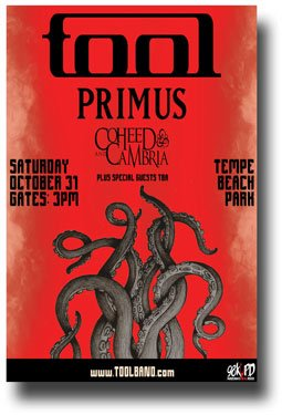 Tools Poster (Tool Poster - Az 2015 Concert 11 x 17 Band w/ Primus & Coheed & Cambria 10,000 Days Lateralus AZ by Concert Promoter)