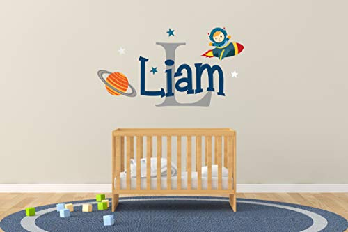 (Custom Name & Initial Space Rocket Satellite And Stars - Baby Boy - Nursery Wall Decal For Baby Rom Decorations - Mural Wall Decal Sticker For Home Children's Bedroom (R182) (Wide 32