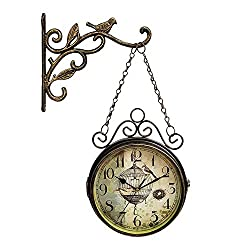MTime Retro Antique Wall Clock Double Sided, 8 Inch Vintage Quartz Clock with Metal Bird Decorative for Gate Hall Foyer-Bronze 45x32cm