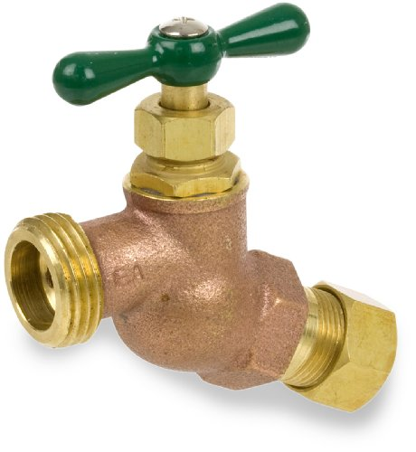 "Smith-Cooper International 167L Series Brass No Kink Hose Bibb, Potable Water Service, Elbow, T-Handle, 1/2"" NPT Male"