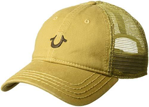- True Religion Men's CORE Logo Trucker Cap, Wheat/Brown, OSFA