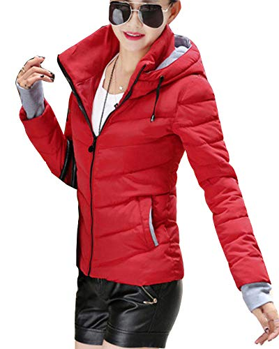 Women Fit Outerwear Casual Warm Quilted Overcoat Slim Jacket Red Down Thicker Padded Short Winter rwqx7rT