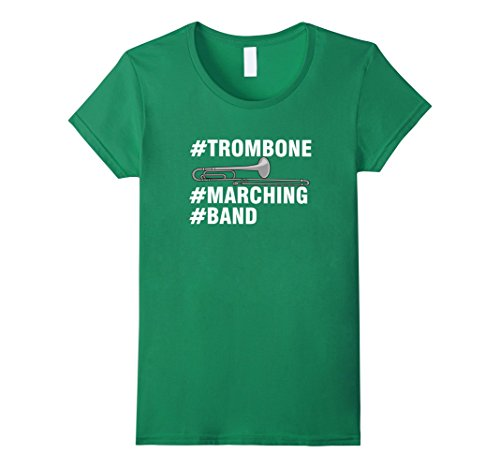 Womens #Trombone #Marching #Band Music T-Shirt Medium Kelly Green - Marching Band Green T-shirt