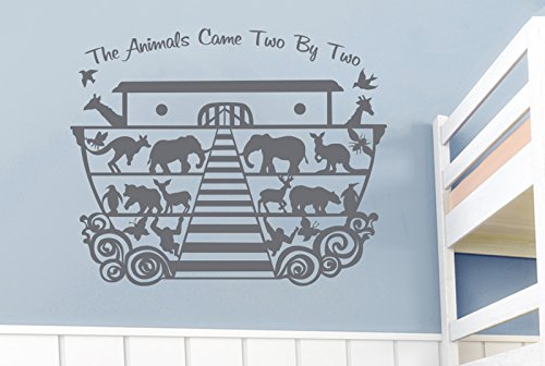 Noahs Ark The Animals Came Two by Two Wall Stickers Art Decals - Large (Height 57cm x Width 70cm) Grey