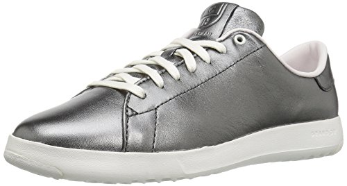 Cole Haan Women's Grandpro Tennis Fashion Sneaker, Metallic Gunmetal/Black, 9 B US
