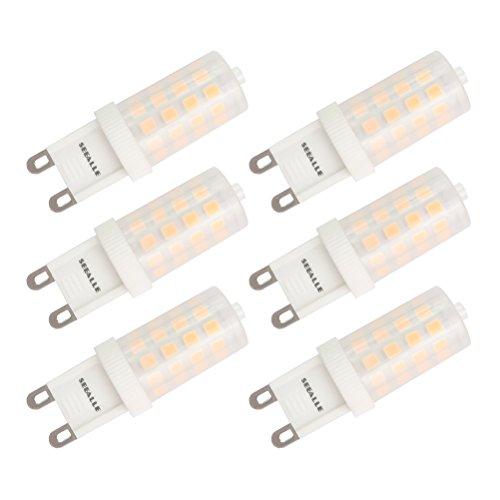 9 Led Bulb (G9 LED Bulb Dimmable Seealle 4W Warm White 3000K G9 Bi-Pin Base 40W Halogen Equivalent AC120V(Pack of 6))