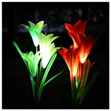 SmilingShark LED Solar Garden Lights Multi-Color Changing with 8 Lily Solar Flower Lights for Patio,Yard Decoration, Bigger Flower and Wider Solar Panel(2 Pack, Red and White)