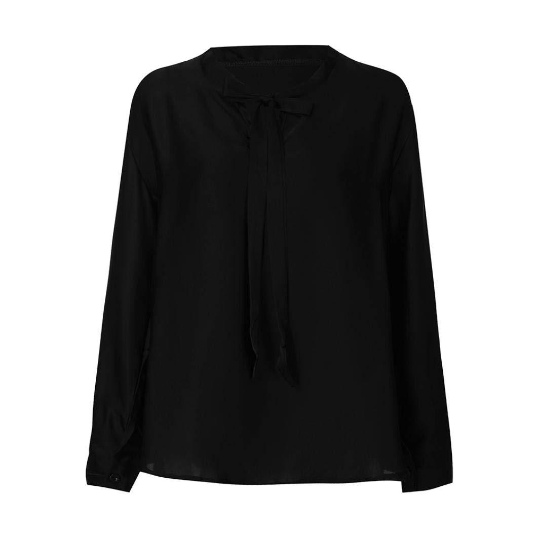 ❤ Camisas Mujer,Modaworld Camisa Casual de Gasa de Manga Larga con Cuello en V para Mujer Blusas Elegantes de Fiesta señoras Tallas Grandes Camisa de ...