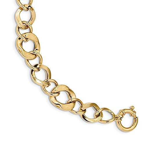 - Solid 14k Yellow Gold Satin & Polished Fancy Link Bracelet (13.3mm)