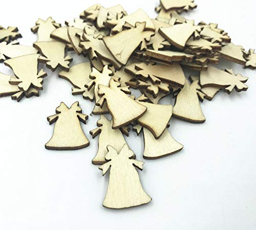 Bazzano 50pcs Wooden Crafts Natural Wood Color Wood Bell Christmas Bell 22mm
