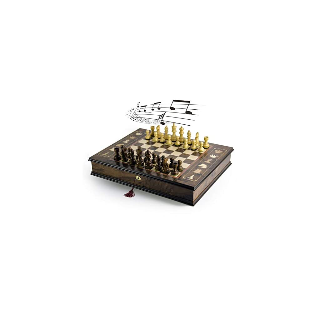 Handcrafted Italian 18 Note Musical Tabletop Chessboard in Walnut Finish – Many Songs to Choose – Frosty The Snowman…