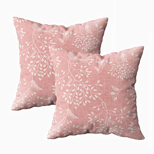 Musesh 18x18 Pillow Cases, Pack of 2 Floral Vintage Pattern Pink and White Oriental Style Art Design Textiles Paper Wallpaper for Sofa Home Decorative Pillowcase Throw Pillow Covers