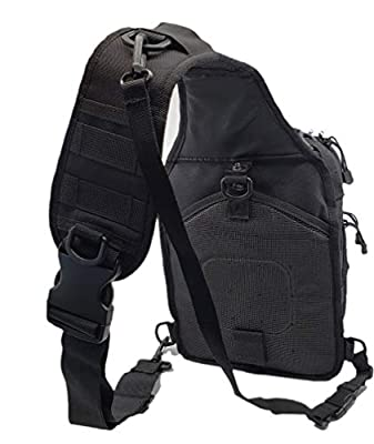 Tactical Sling Backpack by BH Amazing - Small Black Assault Shoulder US Military Army Tactic Grade molle Bag - Special EMS 911 EDC CCW - Perfect for iPad Tablet - Drone - Outdoor - Conceal Carry
