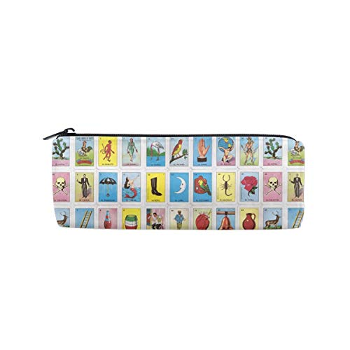 ALLDET Colorful Mexican Loteria Cards Cylinder Women Cosmetic Bag Zipper Single Layer Travel Storage Makeup Bags Purse