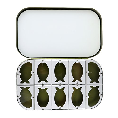 on Aluminum Fly Box - 10 Compartment Fly Fiishing Box Tackle Case Fly Lure Box - Green ()
