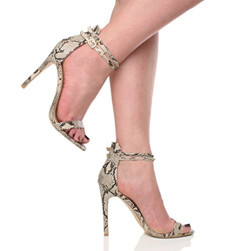 Shoes Size Black Ajvani There Barely Snake Heel Beige High Strappy Sandals Women ww4RT0