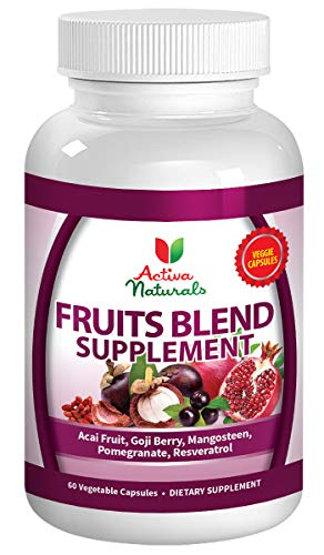 Pomegranate Acai Berry - Activa Naturals Fruit Supplement with Acai, Pomegranate, Mangosteen, Goji, Noni, Raspberry, Cherry, Elderberry, Grape Skin & Berry for Overall Wellness