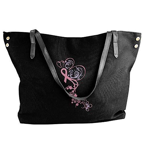 Butterfly Shoulder Bag Tote Messenger Tote Hobo Large Women's Black Cancer Ribbon Handbag Canvas xqO6tnaW0